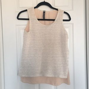 DESIGN LAB Beige and Peach Woven Tank Top - Size S